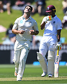 1st December 2017, Basin Reserve, Wellington, New Zealand; International Test Cricket, Day 1, New Zealand versus West Indies;  Colin de Grandhomme shows his frustration on