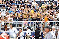 """24 September 2011:  Fans painted the letters to spell """"PANTHERS"""" onto their bodies for the game.  The University of Louisiana-Lafayette Ragin Cajuns defeated the FIU Golden Panthers, 36-31, at FIU Stadium in Miami, Florida."""