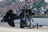 Apr. 26, 2013; Baytown, TX, USA: NHRA top fuel dragster driver Shawn Langdon during qualifying for the Spring Nationals at Royal Purple Raceway. Mandatory Credit: Mark J. Rebilas-