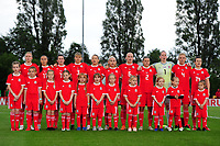 Wales Women's' team sing the national anthem during the Women's International Friendly match between Wales and New Zealand at the Cardiff International Sports Stadium in Cardiff, Wales, UK. Tuesday 04 June, 2019