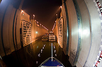 Cruise liner in lock at Three Gorges Dam, Yangze River, China