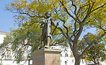Statue sculpture of Vasco da Gama discoverer of Natal, South Africa in 1497, Jardim Publico, Evora, Portugal - presented by government of Natal