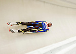 4 December 2015: Anton Dukach, sliding for Ukraine, enters a curve during his first run of the Viessmann Luge World Cup at the Olympic Sports Track in Lake Placid, New York, USA. Mandatory Credit: Ed Wolfstein Photo *** RAW (NEF) Image File Available ***