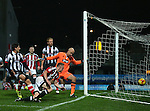 Jordan Hallam of Sheffield Utd  hits the side netting during the Checkatrade Trophy match at Blundell Park Stadium, Grimsby. Picture date: November 9th, 2016. Pic Simon Bellis/Sportimage