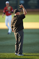 After conferring with his colleagues, first base umpire Joseph Holt signals home run during the game between the Liberty Flames and the Wake Forest Demon Deacons at David F. Couch Ballpark on April 25, 2018 in  Winston-Salem, North Carolina.  The Demon Deacons defeated the Flames 8-7.  (Brian Westerholt/Four Seam Images)