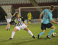 Ross Drummond beats Jon Scullion in the St Mirren v Dunfermline Athletic Scottish Professional Football League Under 20 match played at the Excelsior Stadium, Airdrie on 11.12.13.