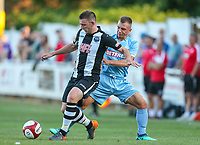 Bolton Wanderers' Boris Jaloszynski vies for possession with Atherton Collieries' Dave Sherlock<br /> <br /> Photographer Alex Dodd/CameraSport<br /> <br /> Football Pre-Season Friendly - Atherton Collieries v Bolton Wanderers - Tuesday 10th July 2018 - Alder House - Atherton<br /> <br /> World Copyright &copy; 2018 CameraSport. All rights reserved. 43 Linden Ave. Countesthorpe. Leicester. England. LE8 5PG - Tel: +44 (0) 116 277 4147 - admin@camerasport.com - www.camerasport.com