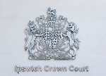 Coat of arms heraldic sign for Ipswich Crown Court, Ipswich, Suffolk, England, UK
