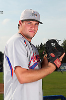 Aberdeen Ironbirds pitcher Blake Mechaw (27) poses for a photo before a game vs. the Batavia Muckdogs at Dwyer Stadium in Batavia, New York;  August 11, 2010.   Batavia defeated Aberdeen 10-1.  Photo By Mike Janes/Four Seam Images