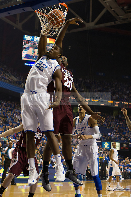Fr. Forward Alex Poythress dunks the ball with authority during the 85-65 UK win vs Mississippi State Men's basketball game in Lexington, Ky., on Wednesday, February 27, 2013. Photo by Matt Burns | Staff