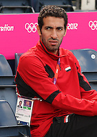 Hampden Park, Glasgow, match venue for Olympic Football at London 2012...Mohamed Aboutrika sitting in the dugout at the Egyptian Mens Football Team Press Conference...........