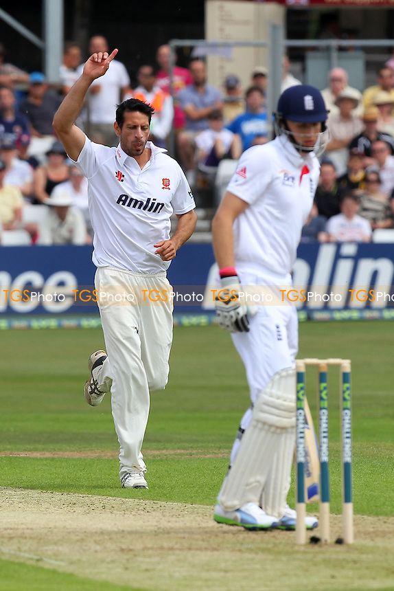 Saj Mahmood of Essex celebrates the wicket of England batsman Joe Root - Essex CCC vs England - LV Challenge Match at the Essex County Ground, Chelmsford - 30/06/13 - MANDATORY CREDIT: Gavin Ellis/TGSPHOTO - Self billing applies where appropriate - 0845 094 6026 - contact@tgsphoto.co.uk - NO UNPAID USE
