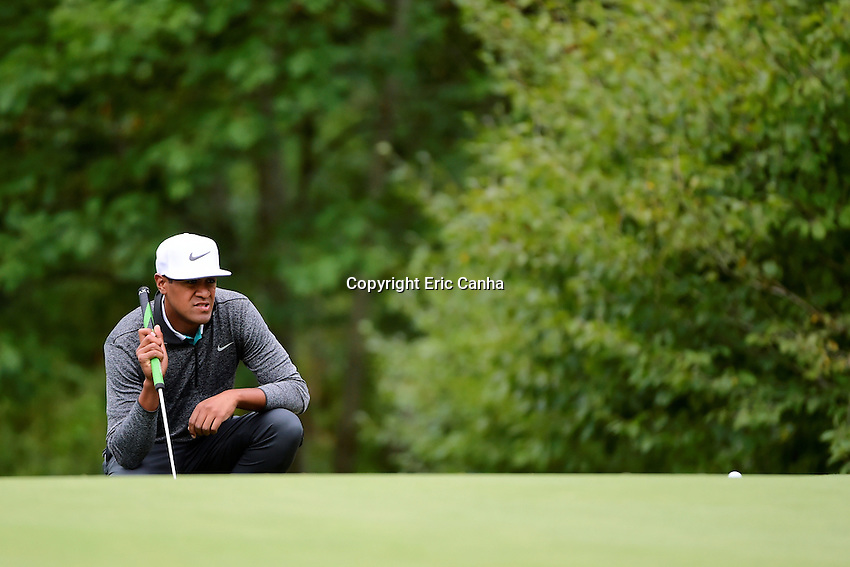 Monday, September 5, 2016:  Tony Finau studies a putt on the fifth green during the final round of the Deutsche Bank Championship tournament held at the Tournament Players Club, in Norton, Massachusetts.  Rory McIlroy of Northern Ireland wins the Deutsche Bank Championship with a final tournament score of -15 269.   Eric Canha/Cal Sport Media