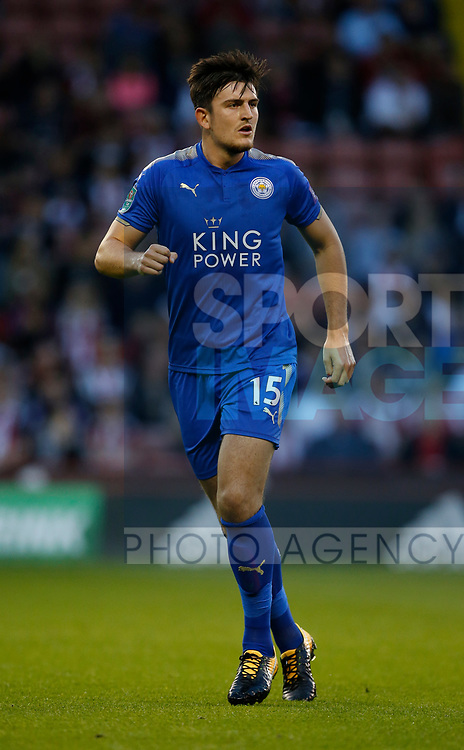 Harry Maguire of Leicester City during the Carabao Cup, second round match at Bramall Lane, Sheffield. Picture date 22nd August 2017. Picture credit should read: Simon Bellis/Sportimage