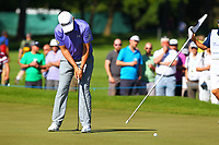 Bernard Wiesberger sinks his putt on the 5th green during the BMW PGA Golf Championship at Wentworth Golf Course, Wentworth Drive, Virginia Water, England on 26 May 2017. Photo by Steve McCarthy/PRiME Media Images.