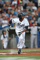 Sergio Alcantara (10) of the Hillsboro Hops bats during a game against the Salem-Keizer Volcanoes at Ron Tonkin Field on July 27, 2015 in Hillsboro, Oregon. Hillsboro defeated Salem-Keizer, 9-2. (Larry Goren/Four Seam Images)