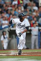 Sergio Alcantara (10) of the Hillsboro Hops bats during a game against the Salem-Keizer Volcanoes at Ron Tonkin Field on July 27, 2015 in Hillsboro, Oregon. Hillsboro defeated Salem-Keizer, 9-2. (Larry Goren/Four Seam Images)