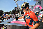 Domenico Pozzovivo (ITA) Bahrain-Merida at sign on before the start of Stage 18 of the 2018 Giro d'Italia, running 196km from Abbiategrasso to Prato Nevoso, Italy. 24th May 2018.<br />