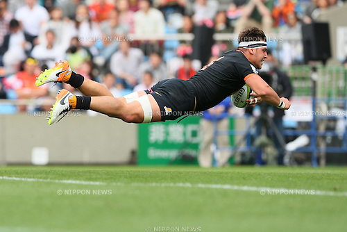 Facundo Isa (Jaguares), <br /> APRIL 23, 2016 - Rugby : <br /> Super Rugby match between Sunwolves 36-28 Jaguares <br /> at Prince Chichibu Memorial Stadium in Tokyo, Japan. <br /> (Photo by Yohei Osada/AFLO SPORT)