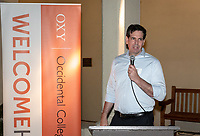 John Pike '96<br /> Now in his 30th year as Oxy's head men's basketball coach, Brian Newhall received a much deserved celebration with a surprise halftime ceremony and post game reception in the Booth Hall courtyard with more than 70 former and current players from all different generations and decades in attendance, on Saturday, Jan. 26, 2019.<br /> Newhall is the winningest coach in Oxy history and has a 100 percent graduation rate in his 30 years at the helm of the program. His resume boasts multiple SCIAC Championships and NCAA Playoff appearances, along with a run to the NCAA Division III Elite Eight in 2003 and the only perfect 14-0 season in SCIAC history. Newhall has not only coached at Oxy, but was a SCIAC Champion and SCIAC Player of the Year during his playing career at Oxy in the early 80s.<br /> (Photo by Marc Campos, Occidental College Photographer)