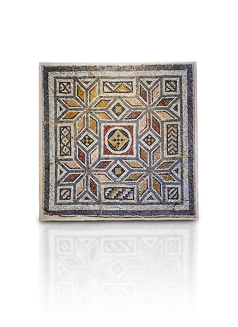 Roman mosaics - Geometric Mosaic. House of Okeanos, Ancient Zeugama, 2nd - 3rd century AD . Zeugma Mosaic Museum, Gaziantep, Turkey.  Against a white background.