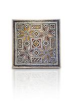 Roman mosaics - Geometric Mosaic. House of Okeanos, Ancient Zeugama, 2nd - 3rd century AD . Zeugma Mosaic Museum, Gaziantep, Turkey.  Against a white background.