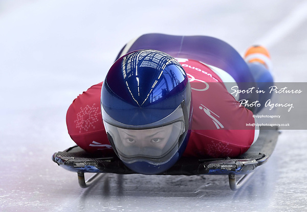 Takako Oguchi (JPN). Skeleton training. Alpensia sliding centrePyeongchang2018 winter Olympics. Alpensia. Republic of Korea. 13/02/2018. ~ MANDATORY CREDIT Garry Bowden/SIPPA - NO UNAUTHORISED USE - +44 7837 394578