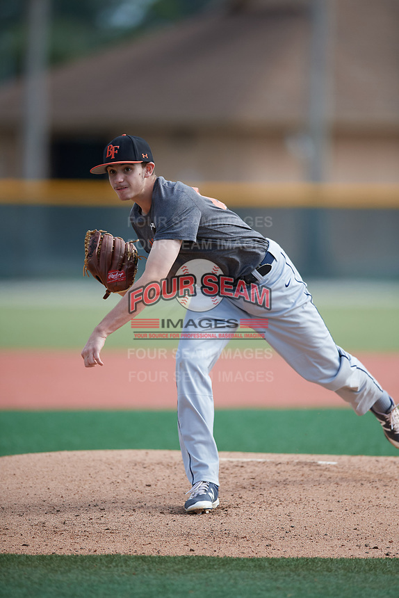 Andrew McCarty (63), from Meriden, Connecticut, while playing for the Giants during the Baseball Factory Pirate City Christmas Camp & Tournament on December 29, 2017 at Pirate City in Bradenton, Florida.  (Mike Janes/Four Seam Images)