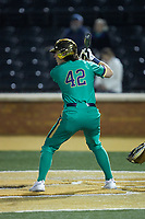 Brooks Coetzee (42) of the Notre Dame Fighting Irish at bat against the Wake Forest Demon Deacons at David F. Couch Ballpark on March 10, 2019 in  Winston-Salem, North Carolina. The Fighting Irish defeated the Demon Deacons 8-7 in 10 innings in game two of a double-header. (Brian Westerholt/Four Seam Images)