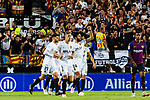 Ezequiel Garay of Valencia CF (R) celebrating his score during their La Liga 2018-19 match between Valencia CF and FC Barcelona at Estadio de Mestalla on October 07 2018 in Valencia, Spain. Photo by Maria Jose Segovia Carmona / Power Sport Images