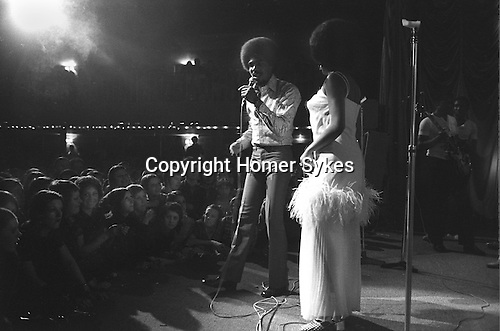 "Bob and Marcia. Young Gifted and Black"" first British tour 1970s England. Bob Andy and Marcia Griffiths. Boston Stump Lincolnshire."
