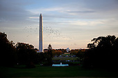 Washington, DC - October 22, 2009 -- The Washington Monument and Jefferson Memorial are seen at dusk behind the the South Lawn Fountain of the White House, October 22, 2009..Mandatory Credit: Lawrence Jackson - White House via CNP