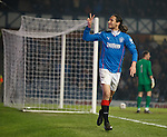 Bilel Mohsni signals his second goal to the Rangers fans