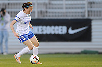 Boyds MD - April 19, 2014: Liz Bogus (5) of FC Kansas City. The Washington Spirit defeated the FC Kansas City 3-1 during a regular game of the 2014 season of the National Women's Soccer League at the Maryland SoccerPlex.