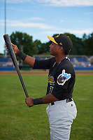 West Virginia Black Bears Melvin Jimenez (7) checks out his bat during a photoshoot before a game against the Batavia Muckdogs on June 19, 2018 at Dwyer Stadium in Batavia, New York.  West Virginia defeated Batavia 7-6.  (Mike Janes/Four Seam Images)