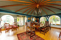 BNPS.co.uk (01202 558833)<br /> Pic: BNPS<br /> <br /> Pictured: The dining room boasts a specatular ceiling.<br /> <br /> A charming country house in the heart of idyllic 'Constable Country' has emerged on to the market for £1.65million.<br /> <br /> Broome Hill is in the Dedman Vale Area of Natural Beauty (AONB) in Suffolk, where the painter John Constable (1776-1837) was born.<br /> <br /> This rural landscape was where he painted many of his most celebrated works, including Dedham Vale and The Hay Wain.<br /> <br /> The four bedroom home, which was built in 1998 in the style of 'an 19th century orangery', has five acres of land and its own fish pond.<br /> <br /> It is being sold with estate agent Chapman Stickels.