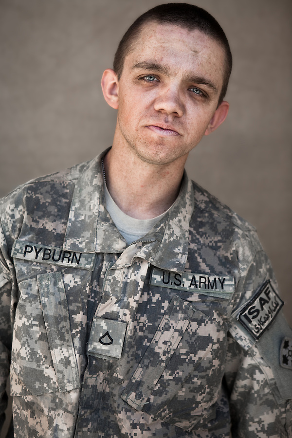 PFC Garrett Pyburn. Las Cruces, New Mexico. 21. Charlie Co. 1st Battalion 12th Infantry Regiment, 4th Infantry Division. Photographed at Combat Outpost JFM in Zhari District, Kandahar, Afghanistan.