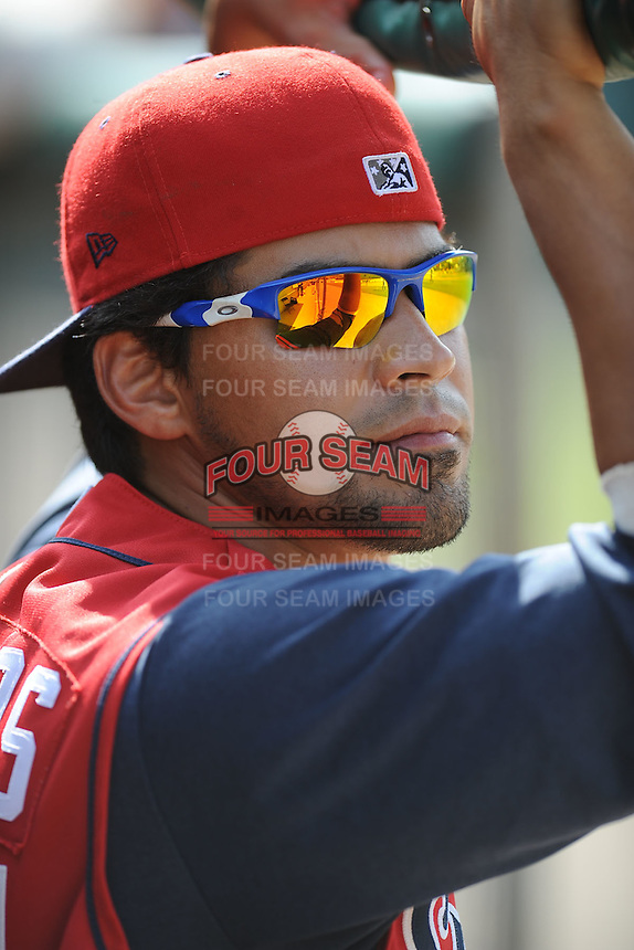Robinson Chirinos Catcher Tennessee Smokies (Chicago Cubs) watches from the dugout during the Southern League Playoffs at Smokies Park in Sevierville, TN September 13, 2009 (Photo by Tony Farlow/Four Seam Images)