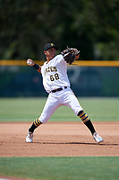 GCL Pirates third baseman Andres Alvarez (68) throws to first base during a Gulf Coast League game against the GCL Red Sox on August 1, 2019 at Pirate City in Bradenton, Florida.  GCL Red Sox defeated the GCL Pirates 11-3.  (Mike Janes/Four Seam Images)