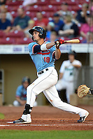 Cedar Rapids Kernels first baseman Chad Christensen (18) at bat during a game against the Quad Cities River Bandits on August 19, 2014 at Perfect Game Field at Veterans Memorial Stadium in Cedar Rapids, Iowa.  Cedar Rapids defeated Quad Cities 5-3.  (Mike Janes/Four Seam Images)