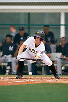 GCL Pirates second baseman Matt Morrow (55) lays down a bunt during the second game of a doubleheader against the GCL Yankees East on July 31, 2018 at Pirate City Complex in Bradenton, Florida.  GCL Pirates defeated GCL Yankees East 12-4.  (Mike Janes/Four Seam Images)