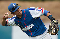 24 july 2010: Maxime Lefevre of France throws the ball to first base during Netherlands 10-0 victory over France, in day 2 of the 2010 European Championship Seniors, in Neuenburg, Germany.