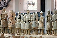 Incomplete infantry men figures at Qin Museum, exhibition halls of Terracotta Warriors, Xian, China