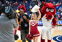 NWA Democrat-Gazette/CHARLIE KAIJO An Arkansas Razorbacks cheerleader cheers during the Southeastern Conference Men's Basketball Tournament, Thursday, March 8, 2018 at Scottrade Center in St. Louis, Mo.