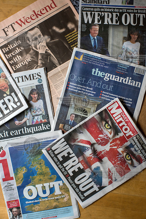 The front covers of British newspapers in the days following the EU referendum.