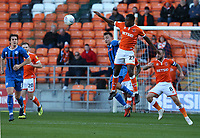 Blackpool's Marc Bola beats Rochdale's Ollie Rathbone to the ball<br /> <br /> Photographer Stephen White/CameraSport<br /> <br /> The EFL Sky Bet League One - Blackpool v Rochdale - Saturday 6th October 2018 - Bloomfield Road - Blackpool<br /> <br /> World Copyright © 2018 CameraSport. All rights reserved. 43 Linden Ave. Countesthorpe. Leicester. England. LE8 5PG - Tel: +44 (0) 116 277 4147 - admin@camerasport.com - www.camerasport.com