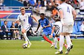 June 13th 2017, Stade de France, Paris, France; International football friendly, France versus England;  OUSMANE DEMBELE (fra) takes on Eric Dier (eng)