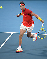 10th January 2020; Sydney Olympic Park Tennis Centre, Sydney, New South Wales, Australia; ATP Cup Australia, Sydney, Day 8; Belgium versus Spain;David Goffin of Belgium versus Rafael Nadal of Spain; Rafael Nadal of Spain slices a backhand to David Goffin of Belgium - Editorial Use