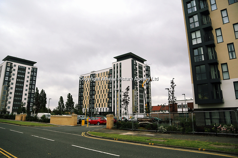 Pictured: Kennedy Gardens flats in Billingham. Tuesday 27 June 2017<br /> Re: Cladding is being removed by workers from the fascia of high-rise flats at Kennedy Gardens in Billingham, County Durham, England, UK