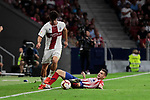 Atletico de Madrid's Lucas Hernandez and SD Huesca's Gonzalo Melero during La Liga match between Atletico de Madrid and SD Huesca at Wanda Metropolitano Stadium in Madrid, Spain. September 25, 2018. (ALTERPHOTOS/A. Perez Meca)
